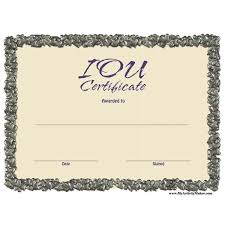 free printable iou certificates