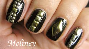 studded nails tutorial easy nail art design for beginners with