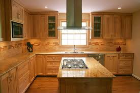 Maple Cabinet Kitchen Maple Cabinets And A Travertine Backsplash Bring Natural Elements
