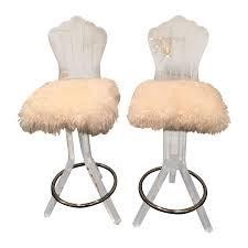 Lucite Stool Bathroom Lucite Swivel Bar Stool With Sheep Skin Fur Pair Chairish