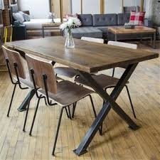 industrial kitchen table furniture industrial modern x frame reclaimed wood dining table by erin true