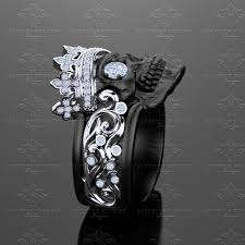 skull wedding rings castiel noir black sterling silver skull ring