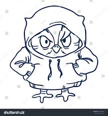 owl hoodie line draw handdrawn contour stock vector 599544983