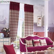 Insulated Thermal Curtains Plaid Curtain Fabric For Bedroom Imitation Thicker