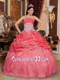 quinceanera dresses coral coral organza quinceanera dress with beaded appliques on waist