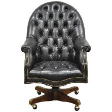 Leather Chairs Office Vintage Deep Tufted Black Leather English Chesterfield Style