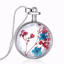glass flower necklace images Round glass dried flower women necklace alloy jewelry christmas jpg