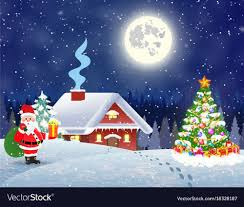 snowy christmas pictures house in snowy christmas landscape at night vector image