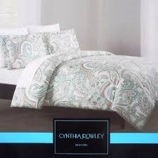 Coral Aqua Bedroom Cynthia Rowley Bedding King Comforter Set Cotton Paisley Floral