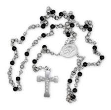 black rosary necklace images Traditional rosary necklace five decade stainless steel catholic jpg