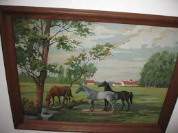 vintage paint by number horses on farm oak frame 27 x 20 covered in
