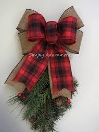 red tartan burlap bow buffalo plaid christmas bow red