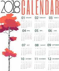 Calendar 2018 Ai Template 2018 Calendar Background Autumn Tree Design Free Vector In Adobe