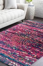 Fuschia Area Rug Feel The With Fuschia Blus Modern Sari Silk Rug At Low Price
