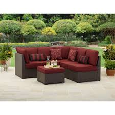 Modern Outdoor Patio Furniture Amazon Com Rush Valley 3 Piece Outdoor Sectional Sofa Set Red
