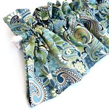 forest glen valance curtains blue green teal brown tan paisley