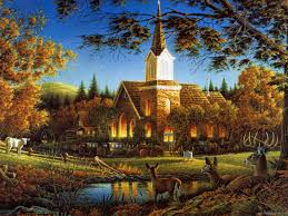thanksgiving jigsaw puzzle terry avon redlin sunday morning churches and autumn