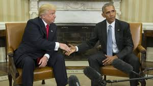 donald trump meets barack obama five awkward photos bbc news