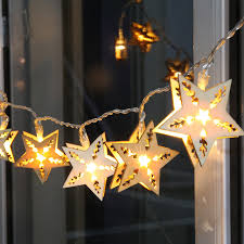 five pointed led lights string lights starry wooden