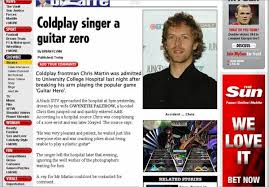 coldplay jokes chris martin admitted to hospital after guitar hero injury
