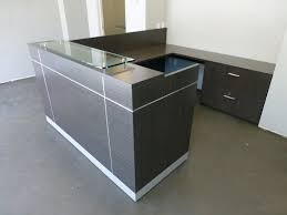 Gray Reception Desk with Fabulous Glass Top Reception Desk Arnold Reception Desks Inc