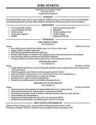Sample Of Nanny Resume by Nanny Resume Resume Cv Cover Letter