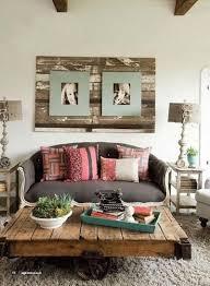 shabby chic front room warm lighting walnut wall shelves stone