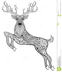 hand drawn magic horned deer with birds for anti stress co