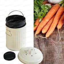 ustensile cuisine bio poubelle de table à compost 3l bio seau blanc accessoire