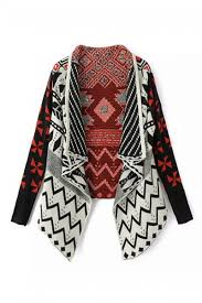 tribal sweater abaday tribal patterns asymmetric knitted cardigan the