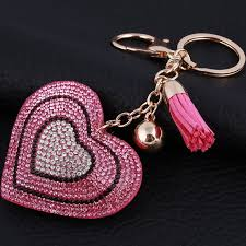 heart key rings images Heart key rings crysral gold color ball bag purse key chain women jpg