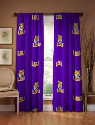 amazon com lsu tigers 100 cotton curtain panels drapes 42