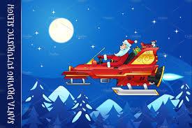 santa driving a futuristic sleigh illustrations creative market