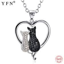 white crystal necklace images 925 sterling silver necklace jewelry black white crystal cat jpg