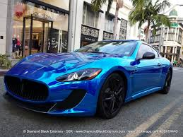 maserati gt matte black maserati granturismo mc wrappedin blue chrome by dbx diamond
