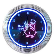 best bbq chef pig neon clock kitchen clocks retroplanet com