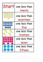 english worksheets year 1 maths one less