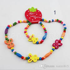 childrens necklace wholesale korean wooden children s necklace and bracelet two