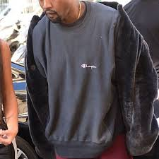 champion script sweatshirt vintage as worn by kanye west