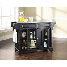 black kitchen island with stainless steel top crosley kf30002bbk lafayette stainless steel top kitchen island in