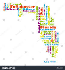 Melbourne Florida Map by Word Cloud Map Florida State Stock Illustration 99794720