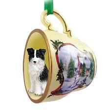 border collie ornament figurine teacup