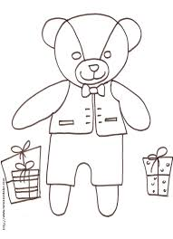 Coloriage de petit ours et les cadeaux  coloriage Tête à modeler