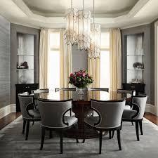 gray wallpaper dark hardwoods round table and striking light