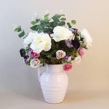 Silk Flower Centerpieces Artificial Flower Arrangement Mixed Garden Roses Jug