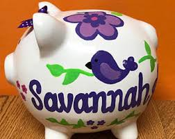 customized piggy bank baby animal piggy bank etsy