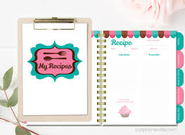 printable recipe book blank cookbook teal pink recipe pages