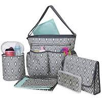baby essentials essentials grey diamond 8 in 1 print tote bag