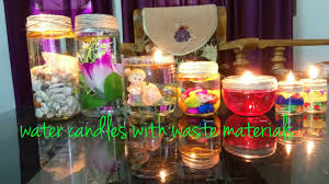 Interior Decoration With Waste Material by Diwali Christmas Decoration Water Candles From Mason Jars Waste