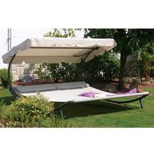 abba patio outdoor tan portable double chaise lounge shaded and